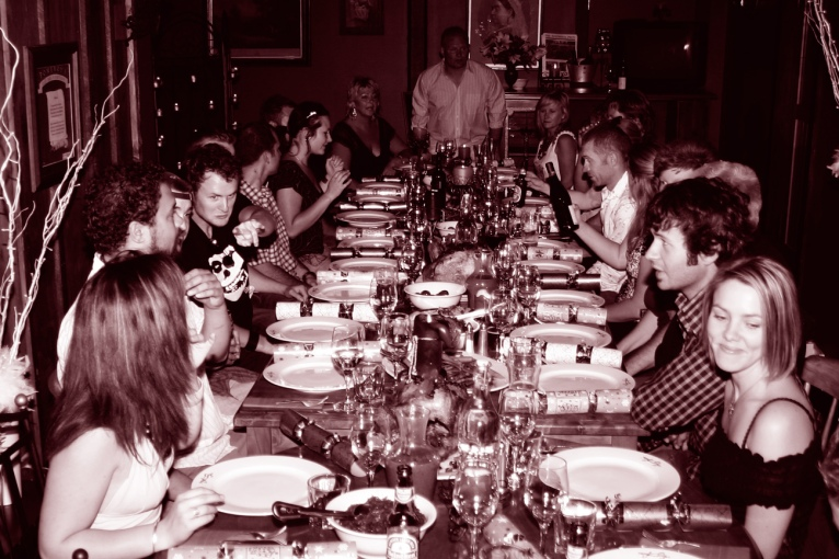 "The Pomeroy's Press. Pom's ""Locals like…"" image. Pomeroy's mid-winter Christmas dinner."