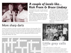 "The Pomeroy's Press. Pom's ""Locals like…"" profile photo. Rick Preen and Bruce Lindsay. Sharp Darts tournament article."