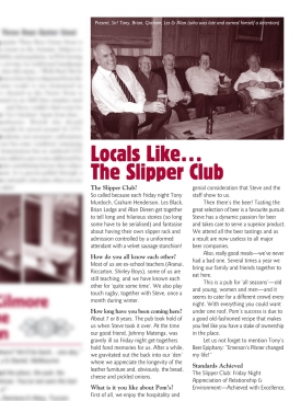 "The Pomeroy's Press. Pom's ""Locals like…"" profile article. The Slipper Club."