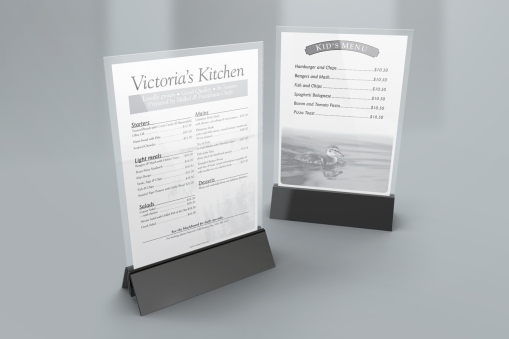 Victoria's Kitchen at Pomeroy's, seasonal menu table talkers.