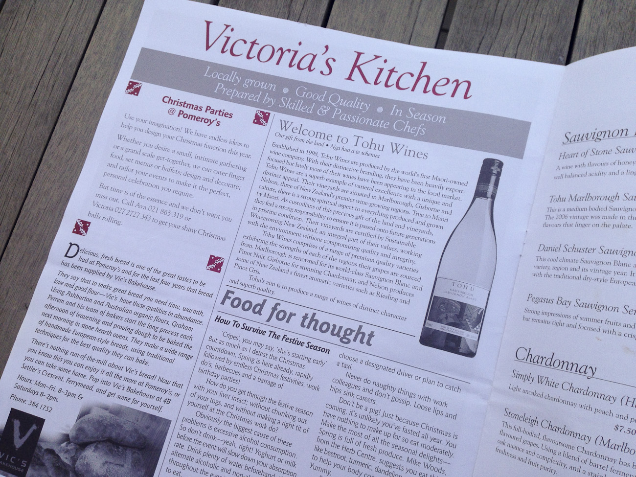 Pomeroy's Press newsletter, Victoria's Kitchen wine and food articles and promotions.