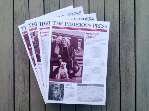 Pomeroy's Press newsletter front page, masthead, leading article, Pomeroy's family greeting and list of contents.