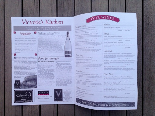 Pomeroy's Press newsletter, Victoria's Kitchen wine and food articles and seasonal wine list.