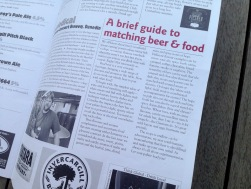 Pomeroy's Press newsletter, article about matching beer and food.