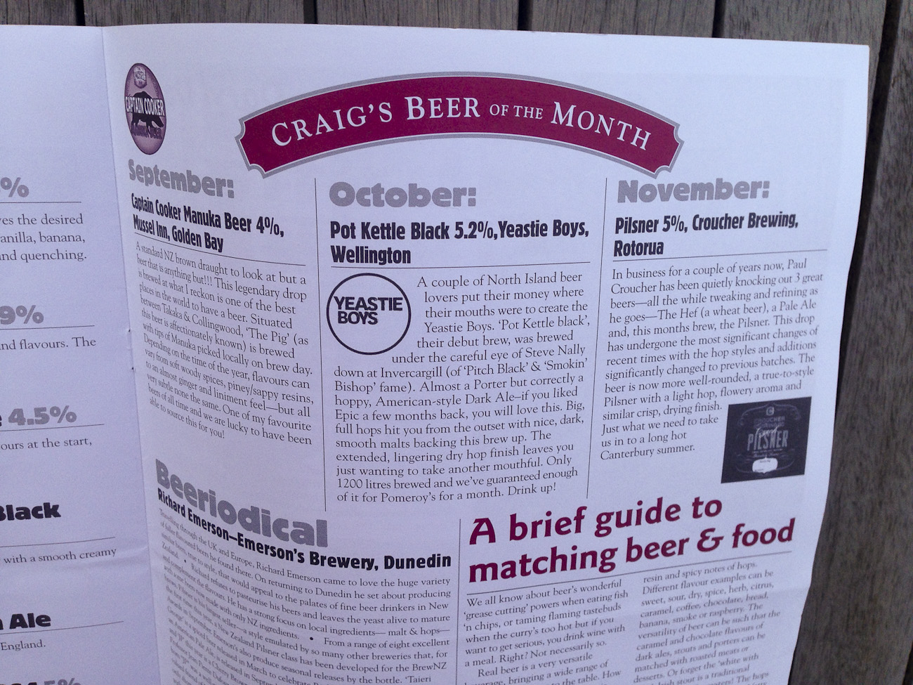 """Pomeroy's Press newsletter, """"Craig's Beer of the Month"""" feature."""