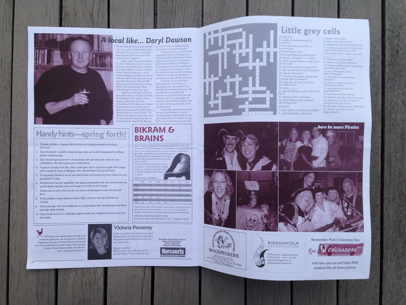 Pomeroy's Press newsletter, pages six and seven spread.