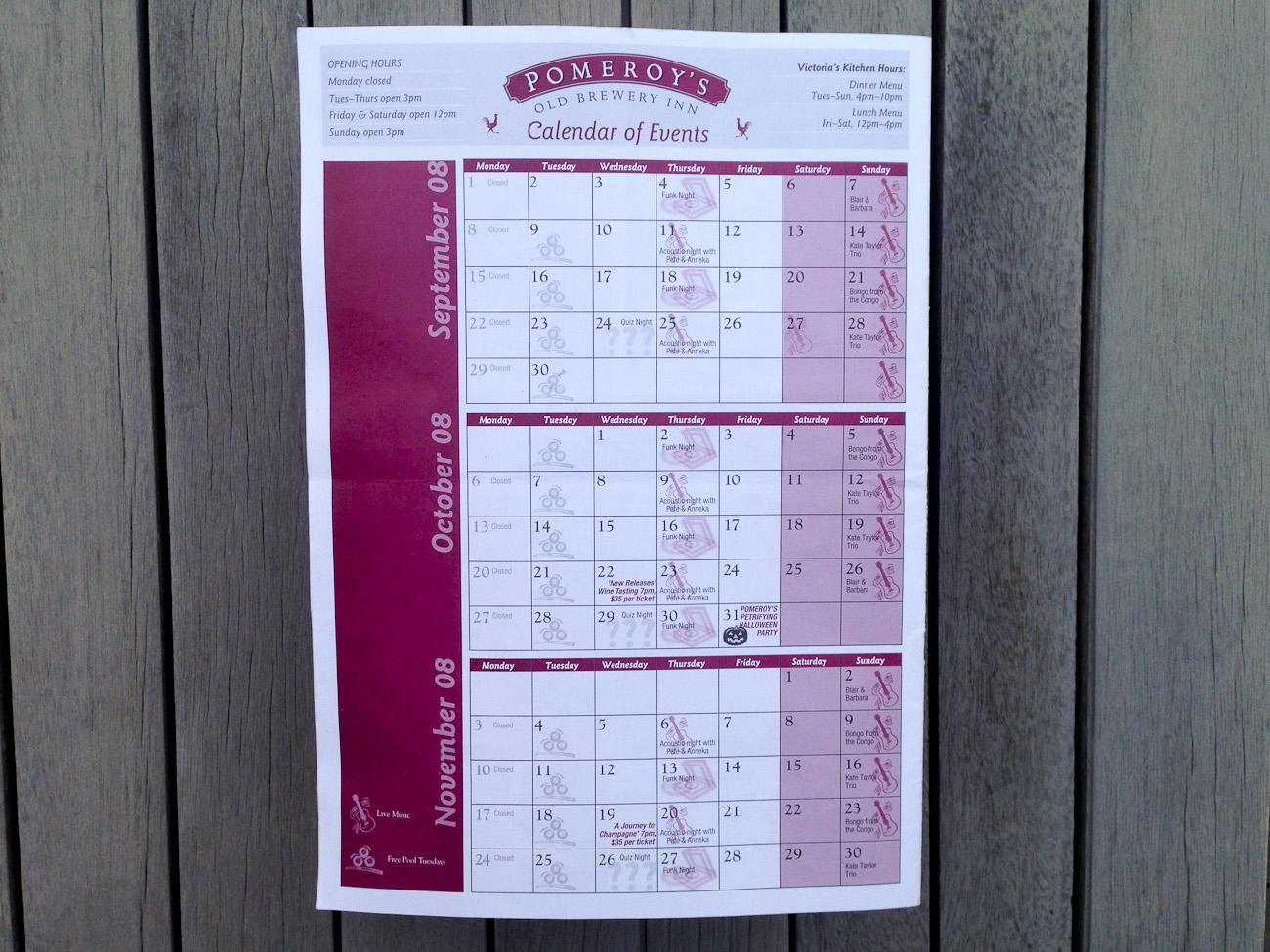 Pomeroy's Press, 3 month Calendar of Events.