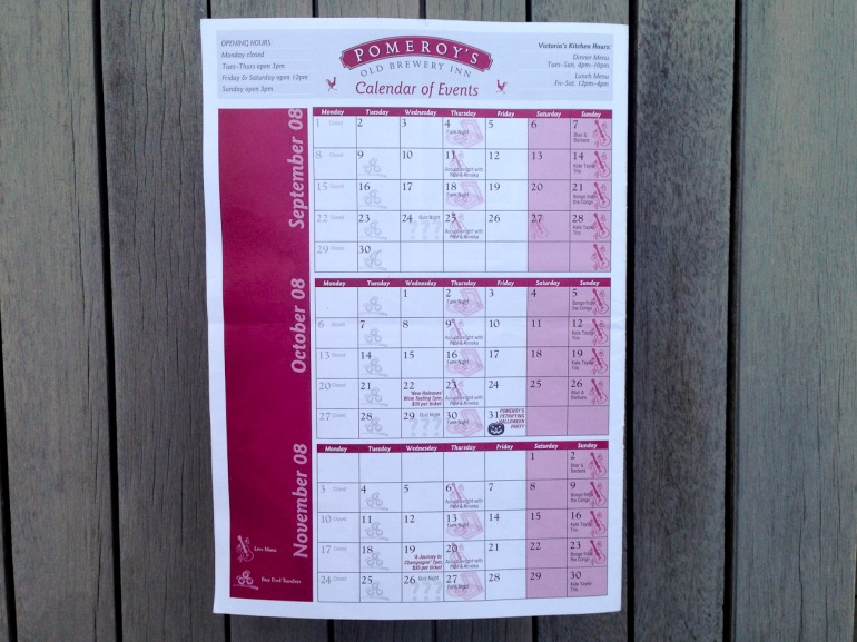 Pomeroy's Press, 3 month Calendar of Events.