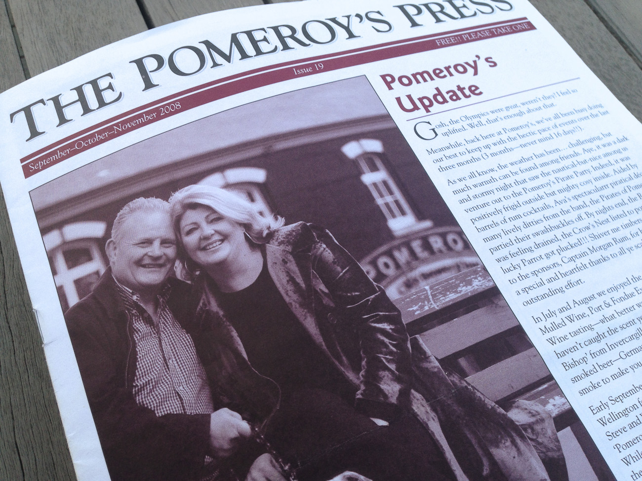Pomeroy's Press newsletter front page, masthead, leading article, Pomeroy's family greeting, photo of Steve and Victoria Pomeroy.