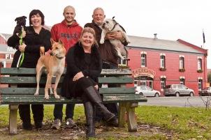 The Pomeroy's Press. Pomeroy family portrait with dogs.