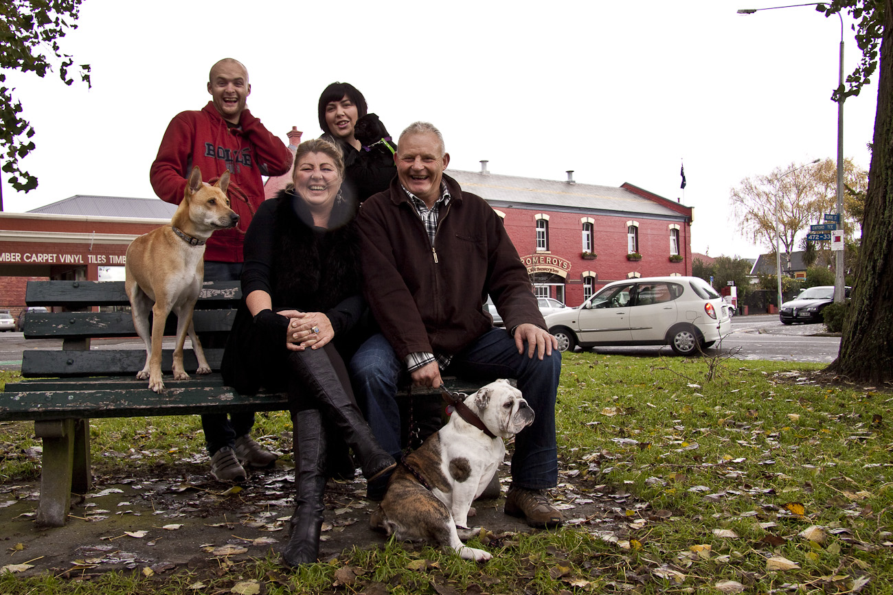 The Pomeroy's Press. The Pomeroy's Press. Pomeroy family portrait with dogs.