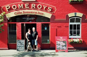 The Pomeroy's Press. Portrait for Pom's staff profile story. Victoria and Steve Pomeroy.