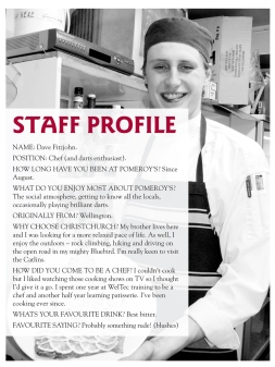 The Pomeroy's Press. Pom's Staff profile article. Dave Littlejohn.