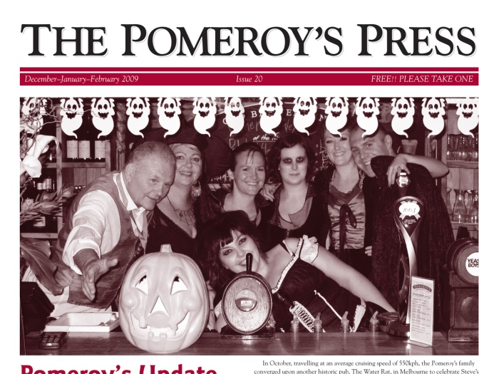 The Pomeroy's Press. Pom's Staff profile article. Halloween Party group shot behind the bar.