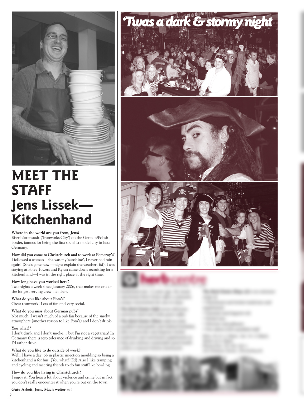 The Pomeroy's Press. Pom's Staff profile article. Jens Lissek.