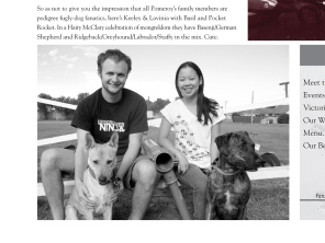 The Pomeroy's Press. Pom's staff profile article. Keeley Pomeroy and Lavinia and dogs.