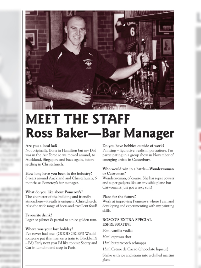 The Pomeroy's Press. Pom's Staff profile article. Ross Baker.