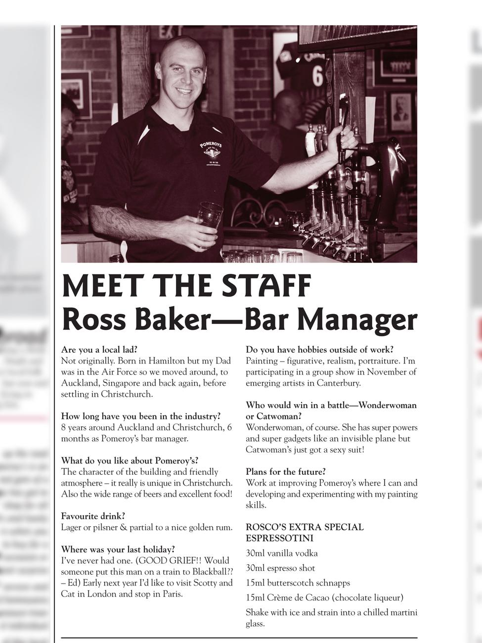 The Pomeroy's Press. Pom's Staff profile article. Ross Baker.