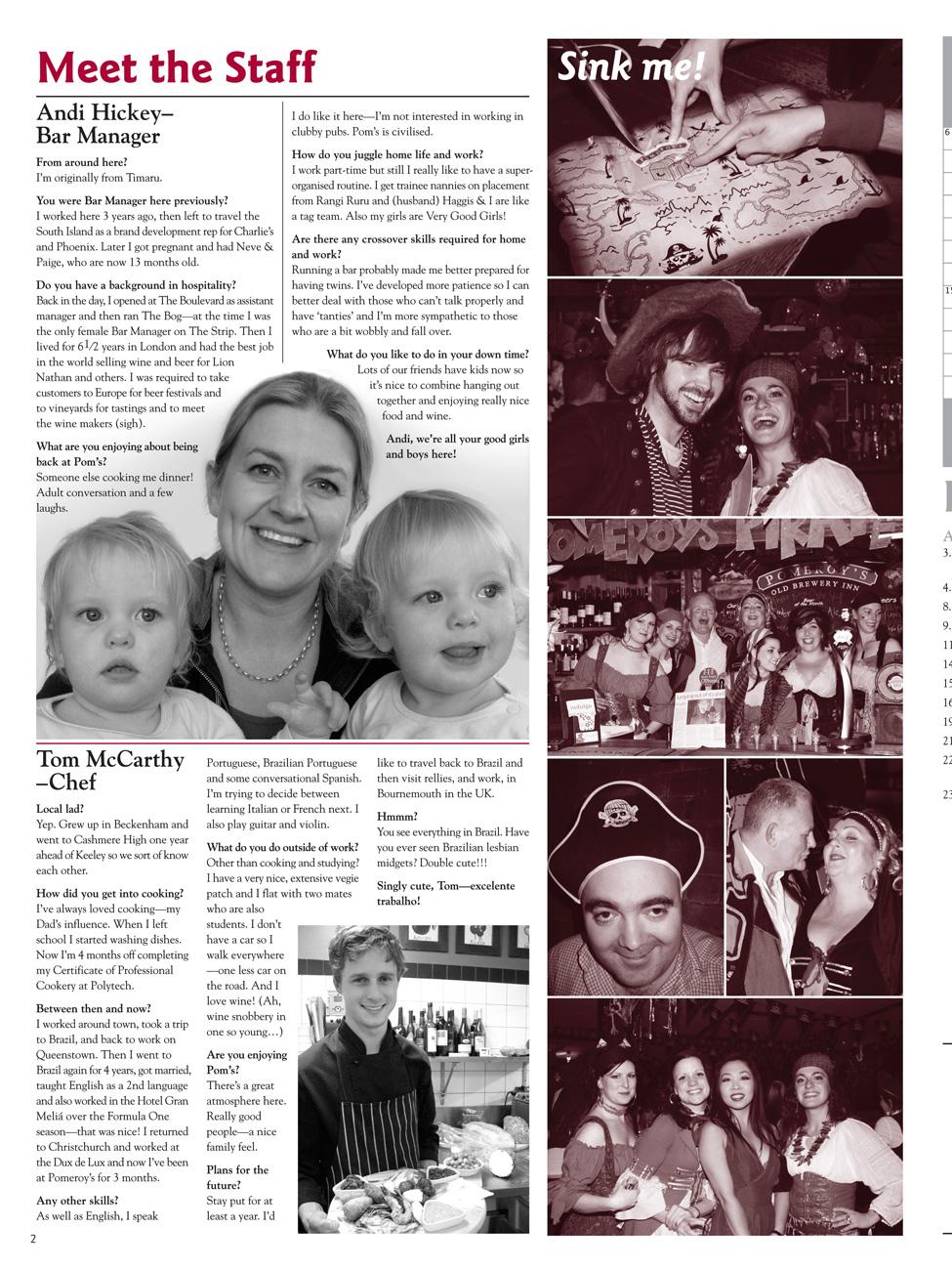 The Pomeroy's Press. Pom's staff profile article. Andi Hitchens, Tom McCarthy.