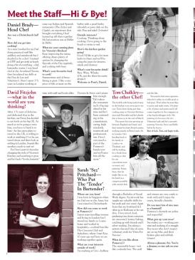 The Pomeroy's Press. Pom's staff profile article. Daniel Brady, David Fitzjohn, Tom Chalkley, Sarah Pritchard.