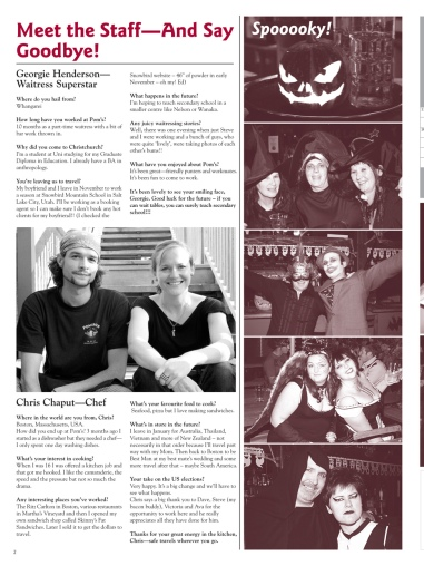 The Pomeroy's Press. Pom's Staff profile article. Georgie Henderson and Chaput.
