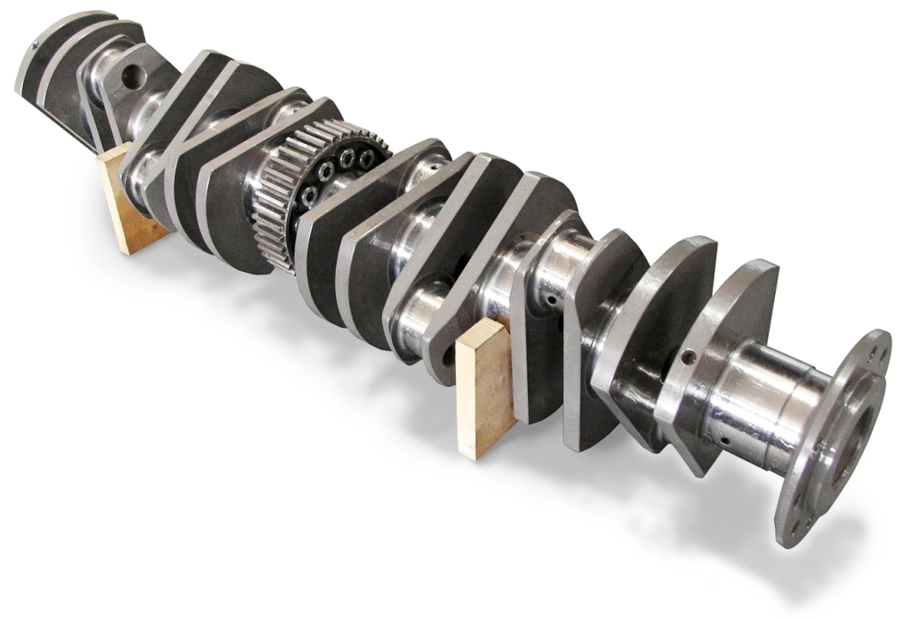 Machined crankshaft for Aston Martin DB6 restoration made from Billet Steel for the DB6 engine by Auto Restorations' machine shop.