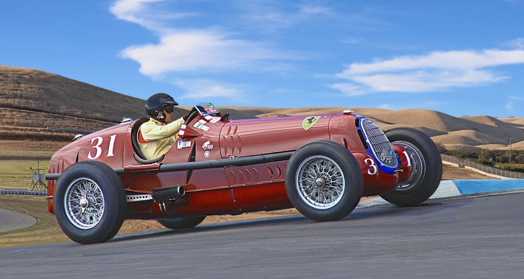 Alfa Romeo Tipo 8C, #32, Thunderhill Raceway Park, California. Peter Giddens at the wheel.