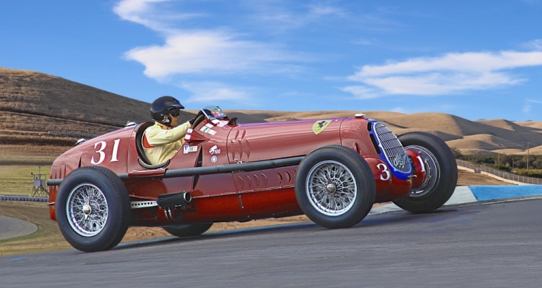 Racing action image of the Alfa Romeo Tipo 8C, #32, racing at Thunderhill Raceway Park, California. Peter Giddens at the wheel.