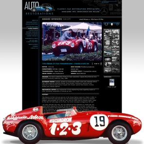 "Auto Restorations Ferrari ""Panamericana"" award winning race car detailed item page with slideshow"