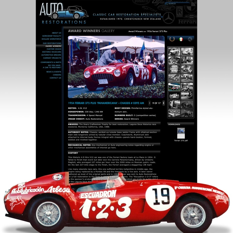 Auto Restorations website after. Award winning restoration gallery page.