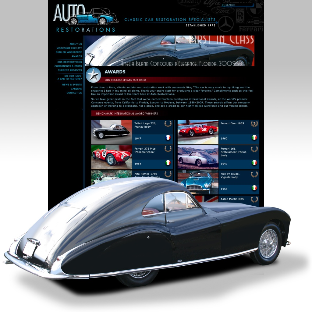 Auto Restorations website after. Award winning restorations page.