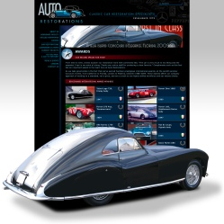 Auto Restorations website after. Award winning restorations thumbnail grid and feature image of Talbot Lago award winner