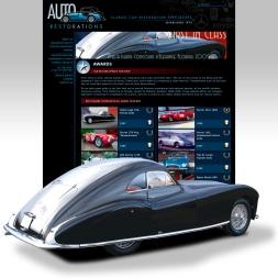 Auto Restorations website after. Award winning restorations thumbnail grid and feature image of Talbot Lago award winner
