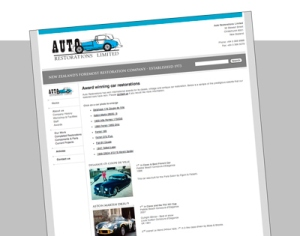 Auto Restorations website before. Awards header page, preview image.