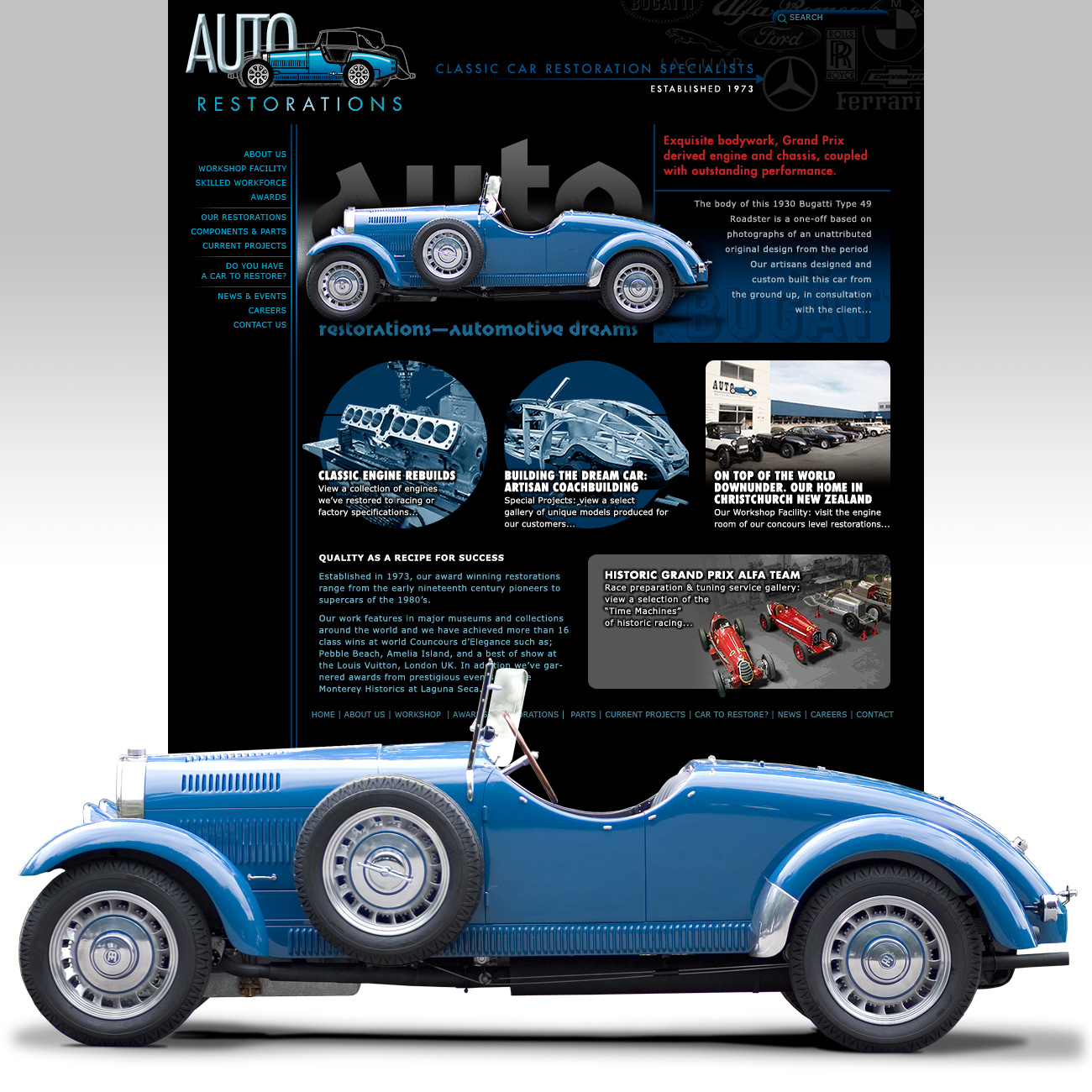 Auto Restorations website homepage after redesign, showing Automotive Dreams marketing slideshow and table of links to website feature articles and pages.