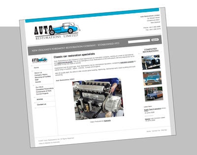 Auto Restorations website before. Home page, preview image.
