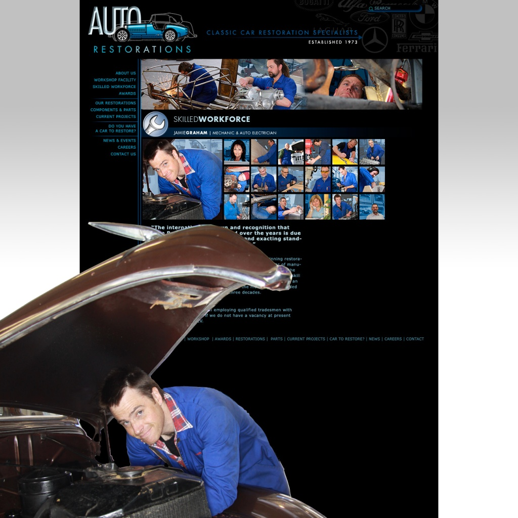 Auto Restorations website after. Skilled workforce page.