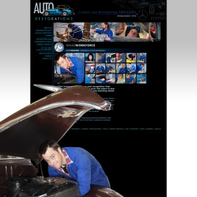 Auto Restorations website after redesign. Skilled workforce page interactive mosaic of employees.