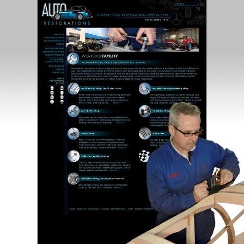 Auto Restorations website after. Workshop facility header page.