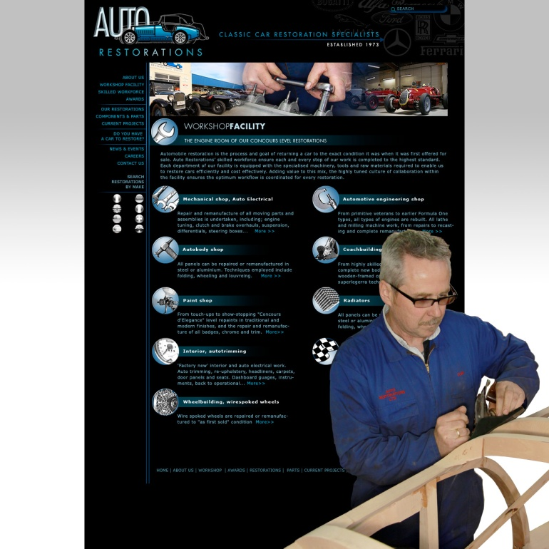 Auto Restorations website after. Workshop facility header page.