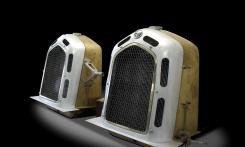 Pair of Alfa Romeo radiators hand built by Auto Restorations.