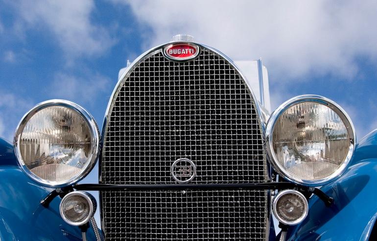 Auto Restorations, Bugatti T49 front view of radiator.