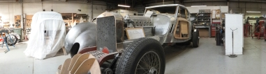 Auto Restorations Custom Coachbuilding Shop panorama. Hispano Suiza.