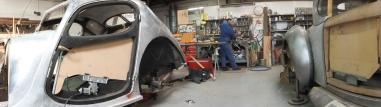 Auto Restorations Custom Coachbuilding Shop panorama. Bugatti and Hispano Suiza.