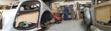 Auto Restorations Custom Coachbuilding Shop panorama. Bugatti and Hispano Suiza.