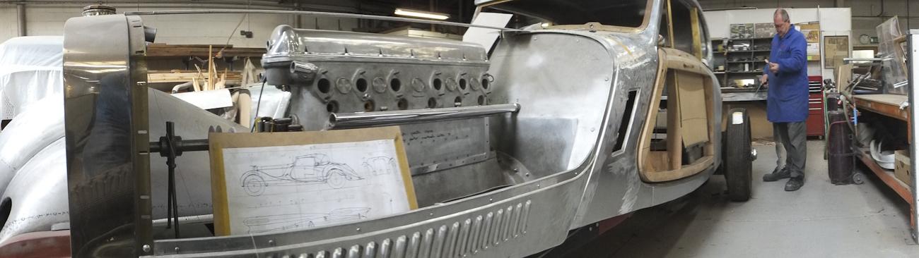Auto Restorations Custom Coachbuilding Shop panorama. Hispano Suiza.