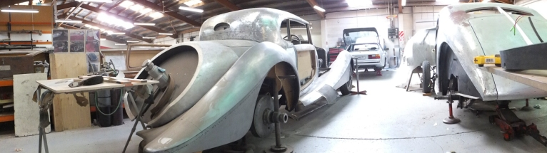 Auto Restorations Custom Coachbuilding Shop panorama. Left to right, Hispano Suiza and Bugatti.
