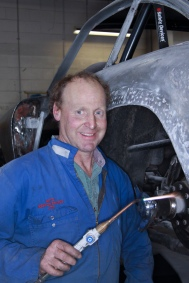 Des Ward in the Panel Shop at Auto Restorations.