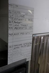 Panel Shop scene, Auto Restorations. Current jobs list. Alfa 1750, Delage, Maserati 3011, Amilcar, Talbot Lago, Maserati, Alfa 1750 GTV, Ferrari, Aston Martin DB6