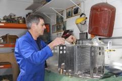 Robin Willan, Radiator Shop scene, with a pair of Warbird aircraft radiators he built.